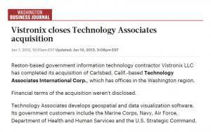 Vistronix - Washington Business Journal Article