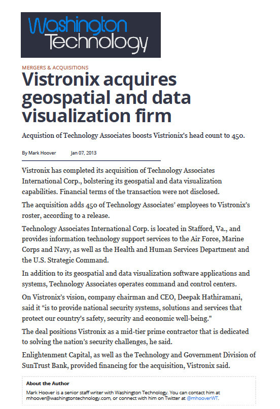 Vistronix - Washington Technology Article
